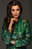 Jovem mulher glamoroso no revestimento verde do estilo japonês que olha o estreptococo Fotografia de Stock