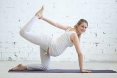 Jovem mulher grávida que faz a pose pré-natal da ioga de Sunbird fotografia de stock