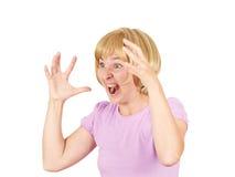 A jovem mulher grita no terror, retrato das caras Imagem de Stock Royalty Free