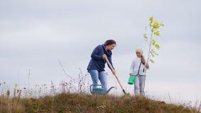 Jovem mulher, junto com sua filha, planta uma árvore vídeos de arquivo