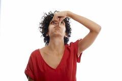 Jovem mulher latino-americano que guarda a respiração Fotografia de Stock Royalty Free