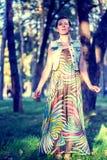Jovem mulher na madeira Imagem de Stock Royalty Free