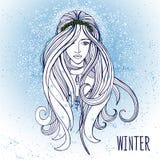 Jovem mulher no humor do inverno Ilustração do Vetor