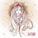 Jovem mulher no humor do outono Ilustração do Vetor