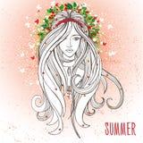 Jovem mulher no humor do verão como um símbolo do verão Ilustração Royalty Free