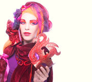 Jovem mulher no rosa Fotos de Stock
