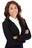 Jovem mulher no terno de negócio com os braços cruzados fotos de stock royalty free