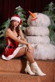 Jovem mulher no vestido do snowgirl Imagem de Stock Royalty Free