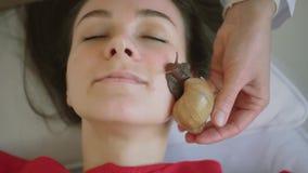 A jovem mulher nos termas recebe uma massagem facial com caracóis Achatina Os caracóis comem a pele inoperante das produzidas Em filme