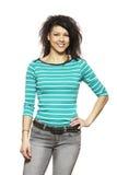 Sorriso ocasional vestido da jovem mulher foto de stock royalty free