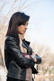 Pensamento da jovem mulher Foto de Stock Royalty Free