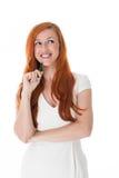 Jovem mulher pensativa bonita Fotos de Stock Royalty Free