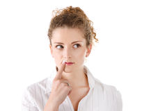 Jovem mulher pensativa - mulher isolada no fundo branco fotografia de stock royalty free