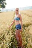 Jovem mulher que anda através de um campo de milho Imagem de Stock