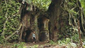 Jovem mulher que anda através do forte velho Karang Bolong filme