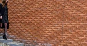 Jovem mulher que anda pela parede de tijolo vermelho vídeos de arquivo