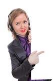 Jovem mulher que aponta em um sinal imagem de stock royalty free