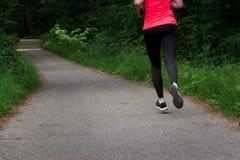 Jovem mulher que corre ao longo do trajeto curvado através da floresta verde Fotografia de Stock Royalty Free