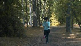 Jovem mulher que corre na floresta na noite ensolarada do verão vídeos de arquivo