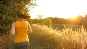 Jovem mulher que corre no parque vídeos de arquivo