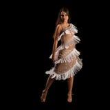 Jovem mulher que executa a dança do latino com a paixão Fotos de Stock Royalty Free