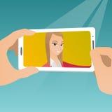 Jovem mulher que faz a ilustração do vetor do selfie Imagens de Stock Royalty Free