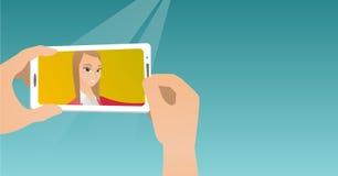 Jovem mulher que faz a ilustração do vetor do selfie Foto de Stock