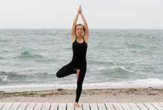 Jovem mulher que faz a ioga no beira-mar na manhã no dia de verão Jovem mulher que faz a ioga e que olha a câmera imagem de stock