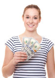 Jovem mulher que guarda 300 dólares Imagem de Stock Royalty Free