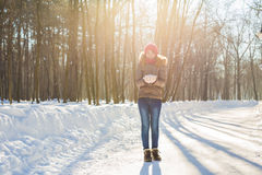Jovem mulher que guarda a neve branca macia natural em suas mãos para fazer uma bola de neve, sorrindo durante um dia de inverno  Foto de Stock Royalty Free