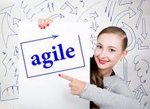 Jovem mulher que guarda o whiteboard com palavra da escrita: ágil Tecnologia, Internet, negócio e mercado fotografia de stock royalty free