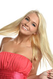 Jovem mulher que joga com cabelo fotografia de stock royalty free
