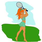 Jovem mulher que joga o tênis, desenho a mão livre Imagens de Stock Royalty Free