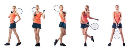A jovem mulher que joga o tênis isolado no branco Imagens de Stock