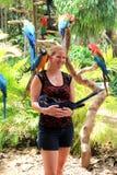 Jovem mulher que levanta com animais selvagens exóticos, ilha da selva, Miami, 2014 Imagem de Stock Royalty Free