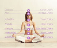 Jovem mulher que medita em uma posição de lótus Imagens de Stock