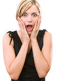 Jovem mulher que mostra sua surpresa Fotografia de Stock Royalty Free