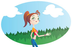 Jovem mulher que movimenta-se fora. ilustração stock