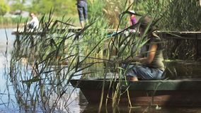 A jovem mulher que o pescador está pescando no lago da floresta, guardando a vara de pesca torce a bobina vídeos de arquivo