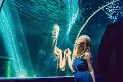 Jovem mulher que olha peixes em um aquário do túnel imagens de stock