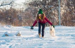 Jovem mulher que plaing com o golden retriever na caminhada do inverno Imagens de Stock