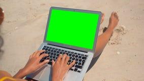 Jovem mulher que senta e que usa o portátil na praia na luz do sol video estoque