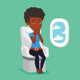 Jovem mulher que sofre do medo do voo ilustração royalty free