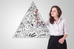 Jovem mulher que tira uma pirâmide de alimento no whiteboard Imagem de Stock Royalty Free