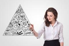 Jovem mulher que tira uma pirâmide de alimento no whiteboard Foto de Stock