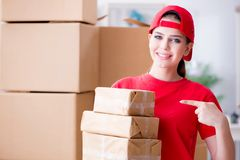 A jovem mulher que trabalha no centro de distribuição do pacote fotografia de stock
