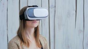 Jovem mulher que usa vidros da realidade virtual Fotos de Stock
