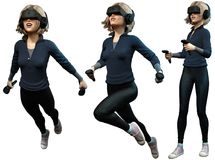 Jovem mulher que veste a ilustração do capacete 3D da realidade virtual Imagem de Stock Royalty Free