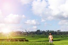 Jovem mulher que viaja em Ásia, andando com a trouxa do rattan em almofadas de arroz durante a estação das chuvas em Bali, liberd Fotografia de Stock