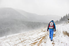 Jovem mulher que viaja em montanhas do inverno imagens de stock